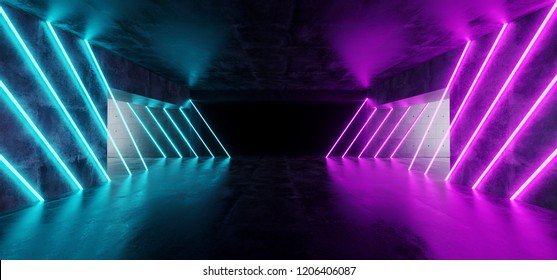 Modern Futuristic Underground Reflective Concrete Garage Empty Room With Purple And Blue Neon Glowing Lights Background 3D Rendering Illustration
