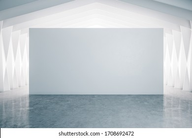 Modern gallery interior with blank decorative wall and concrete floor. Museum and exhibition concept. 3D Rendering