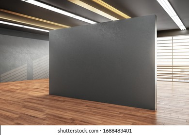 Modern gallery interior with city view and blank gray wall. Museum and art concept. Mock up, 3D Rendering