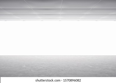 Modern gallery interior with empty illuminated banner. Mock up, 3D Rendering