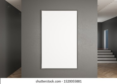 Modern gallery interior with stairs and empty poster on concrete wall. Museum concept. Mock up, 3D Rendering