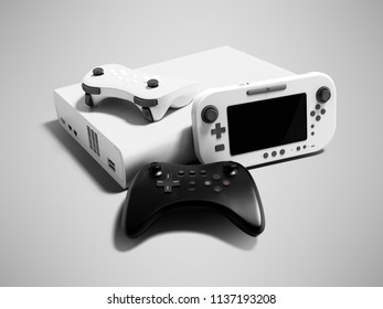 Modern game console white with two dzhostikami and portable game console 3d render on gray background with shadow