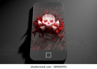 A modern generic smart phone screen emanating small pixels at random that build up to form a skull and cross bones - 3D render