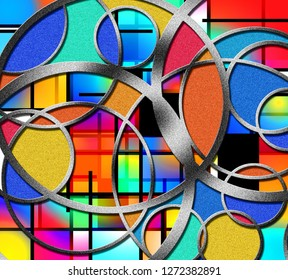 Modern Geometric Abstract. Vivid colors, circles and lines. 3D rendering