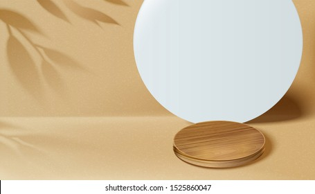 Modern geometric round paper background with wooden coaster in 3d illustration