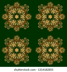 Modern geometric seamless pattern with gold repeating elements on a green background. Seamless golden ornament.