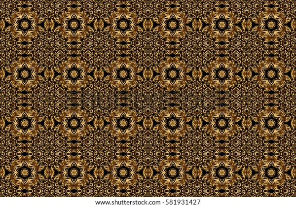 Modern geometric seamless pattern with gold repeating elements on a black background. Seamless golden ornament.