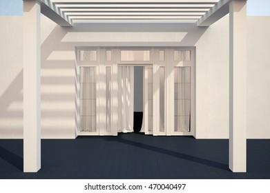 Modern glass entrance door. House exterior.