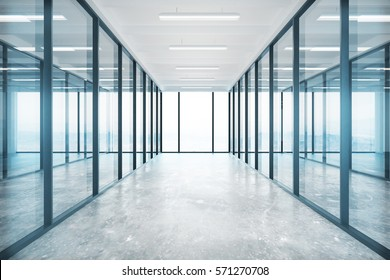 Modern glass office interior with concrete floor, ceiling lamps and panoramic window with no view. 3D Rendering