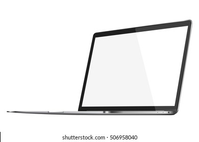 Modern glossy laptop with blank screen isolated on white background. 3D illustration.