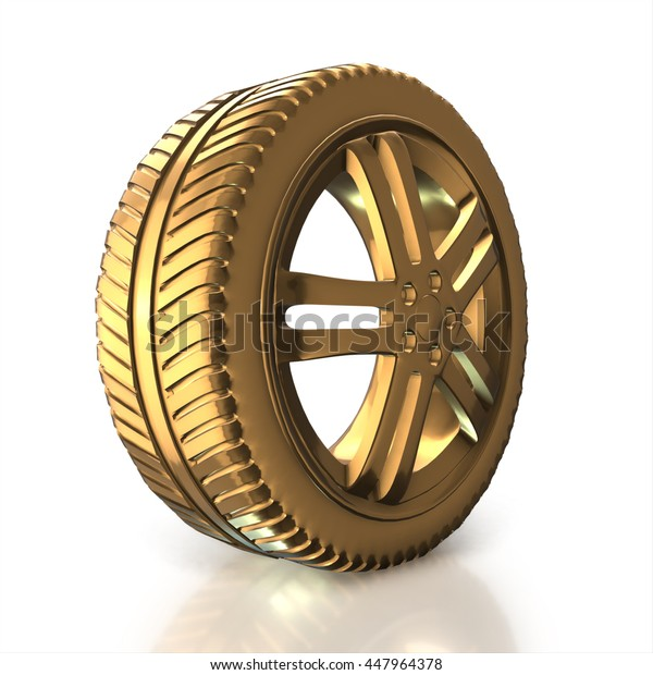 Modern golden car wheel isolated on a white background. 3d render high resolution