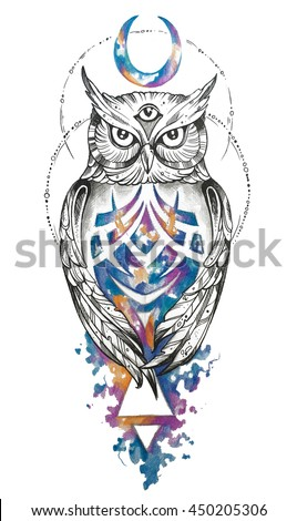 Modern Graphic Owl New School Tattoo Ilustracion De Stock450205306