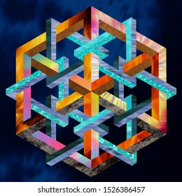 Modern graphic representing the 4 elements. Geometrically inspired work in the style of M. C. Escher with impossible perspective.