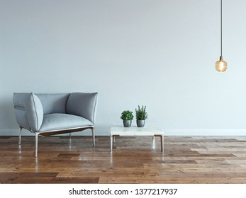 modern gray armchair and interior design in bright empty space. 3D illustration