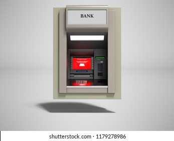 Modern gray ATM included 3d render on gray background with shadow