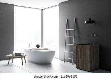 Modern gray wall bathroom corner with concrete floor, loft window, ladder, wood sink and bathtub. Spa, hotel and luxury real estate. 3d rendering mock up