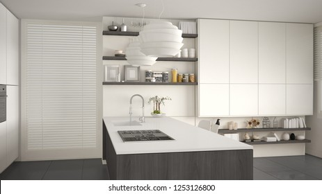 Modern gray and wooden kitchen with shelves and cabinets, island with gas stove and sink. Contemporary living room, minimalist architecture interior design, 3d illustration