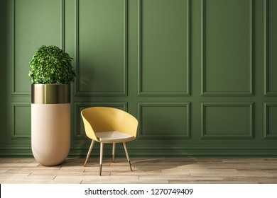 Modern green interior with decorative plant, chair and empty copyspace. Mock up, 3D Rendering