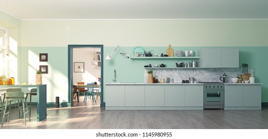 modern green kitchen interior. coror blocking 3d concept. rendering.