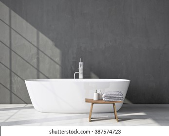 Modern grey bathroom with bathtub. 3d rendering
