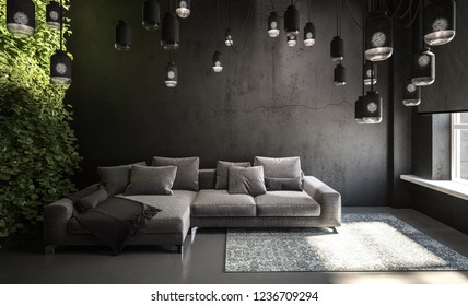 Modern grey living room interior. 3d Rendering