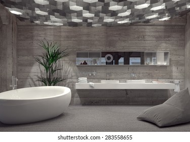 Modern grey luxury bathroom interior with a free-standing boat-shaped bathtub and double vanity lit by an array of hexagonal down lights. 3d Rendering.