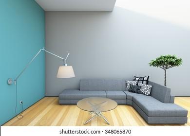 Modern Grey Sofa Lamp Interior 3d Rendering