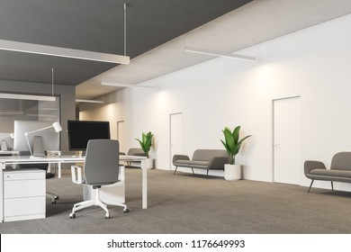 Modern grey and white office interior with rows of white computer desks and loft windows. Gray carpet with sofas and plants. International company concept 3d rendering copy space