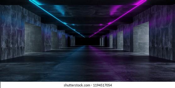 Modern Grunge Dark Concrete Empty Long Tunnel With Purple And Blue Neon Light Tubes Sci Fi Elegant 3D Rendering Illustration