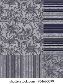 modern grunge, stripe, abstract, check plaid,  floral damask and  patchwork  ottoman pattern for carpet, rug, linen, wallpaper navy blue and beige
