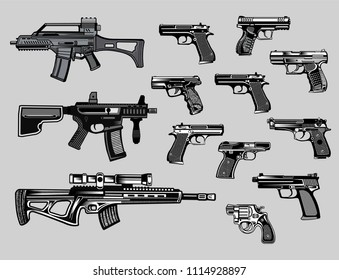 Modern  Guns: automatic weapon, gun and pistol