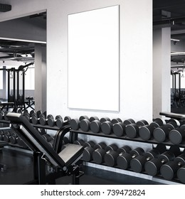 Modern gym with blank picture frame on the wall. 3d rendering