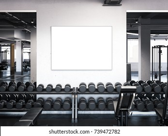 Modern gym with blank poster on the wall. 3d rendering
