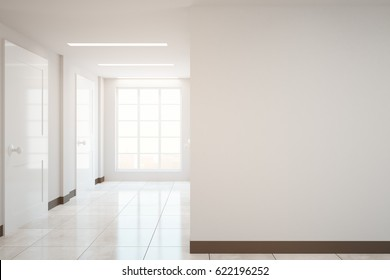 Modern hall interior with city view and blank wall. Mock up, 3D Rendering