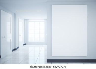 Modern hall interior with city view and blank banner. Mock up, 3D Rendering