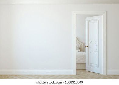 Modern hallway. Interior mockup. 3d render.