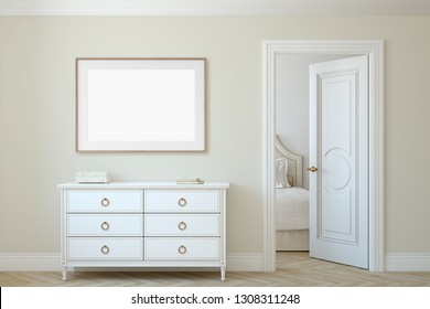 Modern hallway. White dresser near beige wall. Frame mockup. Wooden frame on the wall. 3d render.