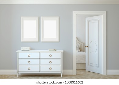 Modern hallway. White dresser near gray wall. Frame mockup. Two white frames on the wall. 3d render.