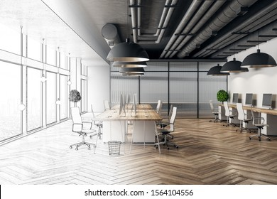 Modern hand drawn meeting room office interior with city view and daylight. Architecture and engineering concept. 3D Rendering