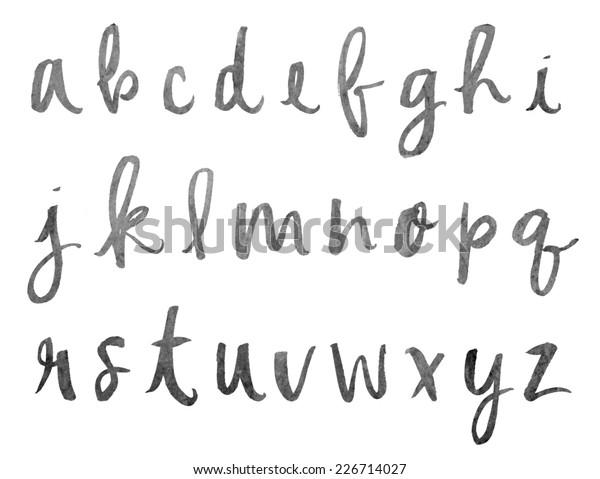 Modern Hand Painted Brush Lettering Alphabet Stock