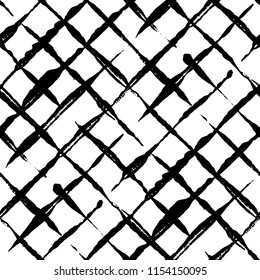 Modern handdrawn diagonal checkered seamless pattern. Messy striped endless ornament with black hand painted strokes on white background. Stylish  design for fabric, wallpaper, wrapping
