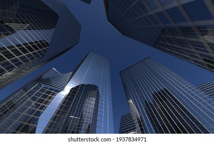 modern high-rise buildings against the sky. 3d illustration on the theme of business success and technology