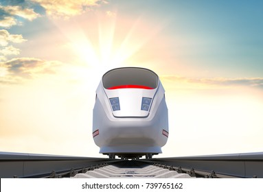 Modern high-speed train on the railway. Front view. Beautiful sunrise or sunset in the background. 3d illustration