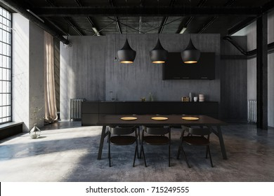 Modern Hipster Dining Area In An Industrial Loft Conversion With Ceiling  Lights Illuminating The Table,