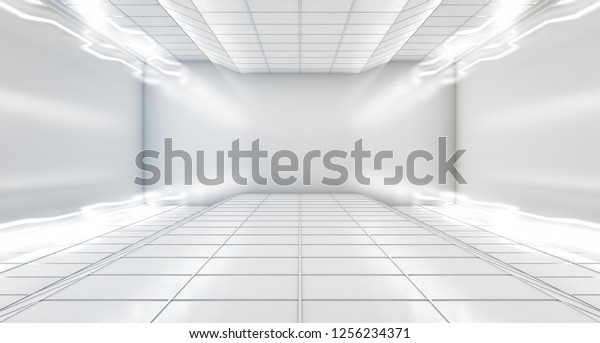 Modern Hitech Empty Space Dark Room Stock Illustration 1256234371