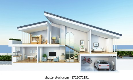 Moderner Wohnquerschnitt, 3D-Darstellung