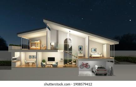 Moderner Wohnquerschnitt, Nachtszene, 3D-Rendering