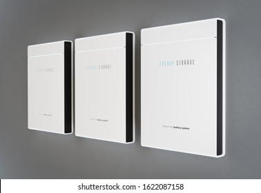 Modern home energy storage battery system mounted on clean grey wall. 3d rendering.