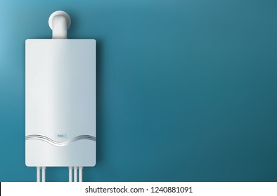 Modern home gas boiler. Heat up home. Heating a house concept. 3d illustration
