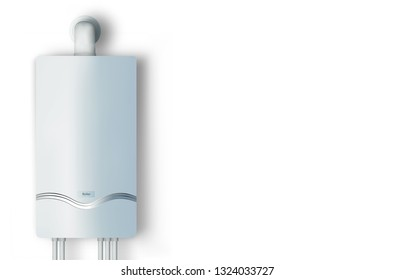 Modern home gas boiler. Heat up home. Heating a house concept. Isolated 3d illustration